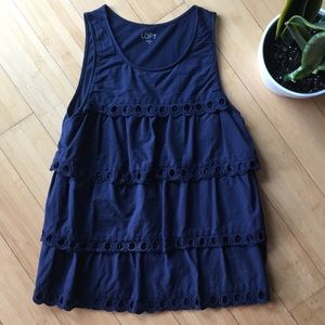 Loft eyelet navy blue panel tank blouse